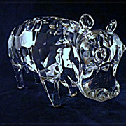 Pino Signoretto Murano Faceted Hippopotamus Hippo Calf Signed