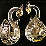 Murano Glass Swan Bird Pair with Gold and Open Wings