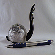 Formia Murano Black Glass Snail with Silver
