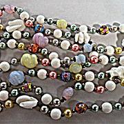 Playful Venetian Glass Bead Necklace 52 inch with Matching Clip-on Earrings Demi Parure
