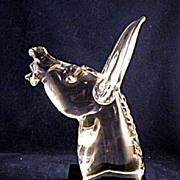 Archimede Seguso Murano Donkey Bust on Black Crystal Base Signed