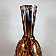 Antique Bohemian Glass Vase with Onyx Decor and Enamel