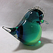 Art Glass Crested Bird Chick in Perfect Condition