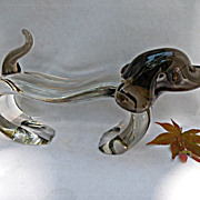 Art Glass Dachshund or Hound Dog with Brown Head and Tail
