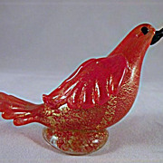 Murano Glass Red Bird with Gold and Frilled Wings