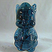 Blue Viking Flat Backed Glass Pig with Overalls and Bow Tie