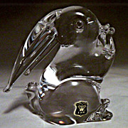 V Nason Murano Glass Rabbit in Clear Glass