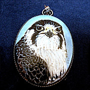 Signed Peregrine Falcon Pendant Enamel on Stone and Silver 1980s
