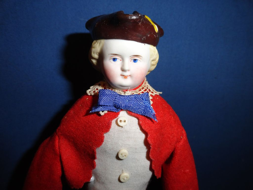 Rarer Male Bisque Doll with Tri corned hat