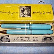 Shirley Temple Fountain Pen and Pencil set in Original Box