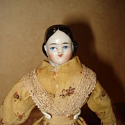 Early China Doll House size 1860 Covered Wagon Black Hairdo