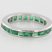 Estate 14 Karat White Gold Emerald Eternity Ring Band Fine Jewelry Pre-Owned 6.5