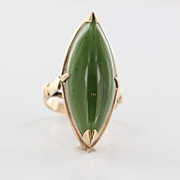 Vintage 18 Karat Yellow Gold Jade Cocktail Ring Fine Estate Jewelry Pre-Owned 6