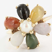 Vintage 14 Karat Yellow Gold Cultured Pearl Jade Cocktail Ring Fine Jewelry Used
