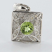 Estate Peridot Flower 14 Karat White Gold Drop Pendant Necklace Fine Heirloom Used Jewelry