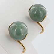 Vintage Estate Jade 14 Karat Yellow Gold Screw Earrings Fine Heirloom Pre Owned Used Jewelry