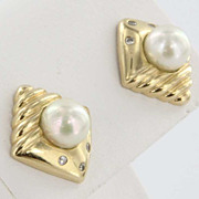 Vintage Estate Diamond Seed Pearl 14 Karat Yellow Gold Stud Earrings Fine Heirloom Used Jewelr