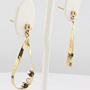 Vintage Estate Diamond Sapphire 14 Karat Yellow Gold Drop Dangle Cocktail Earrings Fine Jewelr