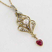 Antique Victorian 14 Karat Yellow Gold Seed Pearl Ruby Lavalier Pendant Necklace Heirloom