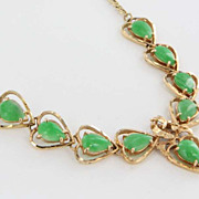 Vintage 14 Karat Yellow Gold Jade Heart Necklace Fine Estate Jewelry Pre-Owned Used