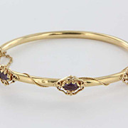 Estate 14 Karat Yellow Gold Amethyst Bangle Bracelet Fine Jewelry Pre-Owned Heirloom