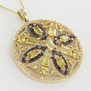 Estate 14 Karat Yellow Gold Diamond Topaz Pendant Necklace Fine Jewelry Used
