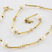 Vintage 14 Karat Yellow Gold Baroque Pearl Necklace Fine Estate Jewelry Pre-Owned Used