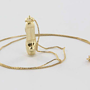 Estate 14 Karat Yellow Gold High Heel Shoe Charm Necklace Fine Jewelry Pre-Owned Used