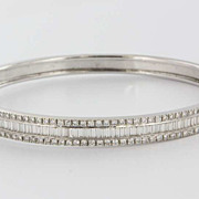 Estate 14 Karat White Gold Diamond Bangle Bracelet Fine Jewelry Pre-Owned Used