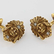 Art Deco 10 Karat Yellow Gold Diamond Indian Chief Mens Cufflinks Pre-Owned