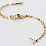 Estate 14 Karat Yellow Gold Topaz Garnet Amethyst Peridot Bracelet Fine Jewelry Used