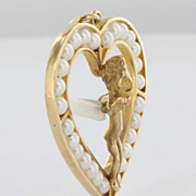 Vintage 14 Karat Yellow Gold Cultured Pearl Winged Angel Heart Pendant Fine Estate Jewelry
