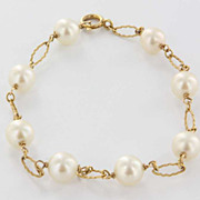 Estate 14 Karat Yellow Gold Cultured Pearl Bracelet Fine Jewelry Pre-Owned Heirloom
