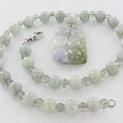 Estate 14 Karat White Gold Jade Bead Necklace Grape Leaf Vine Pendant Pre-Owned Used