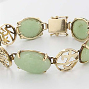 Vintage 14 Karat Yellow Gold Jade Asian Motif Bracelet Fine Estate Jewelry Pre-Owned