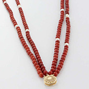 Vintage 14 Karat Yellow Gold Mediterranean Red Coral Cultured Pearl Strand Necklace