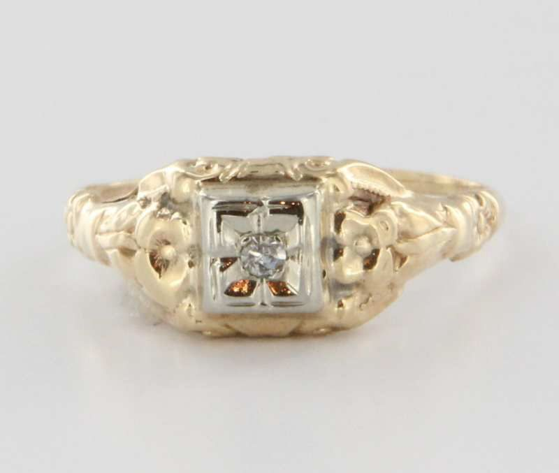 Art Deco 14 Karat Yellow Gold Diamond Ring Fine Estate Jewelry Pre-Owned 5.75