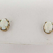 Vintage 14 Karat Yellow Gold Opal Stud Earrings Fine Estate Jewelry Pre-Owned Used