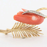 Vintage 14 Karat Yellow Gold Diamond Coral Floral Brooch Pin Fine Estate Jewelry Used