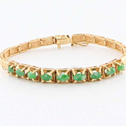 Estate 18 Karat Yellow Gold Jade Link Bracelet Fine Jewelry Pre-Owned Used Vintage