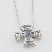 Estate 14 Karat White Gold Diamond Tanzanite Pendant Necklace Fine Jewelry Pre-Owned