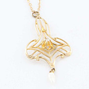 Estate 10 Karat Yellow Gold Diamond Seed Pearl Drop Pendant Necklace Fine Jewelry Vintage