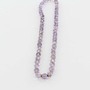 Estate 18 Karat Yellow Gold Amethyst Bead Necklace Fine Jewelry Pre-Owned Used