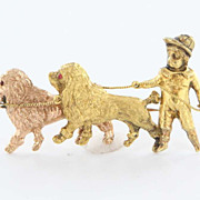 Antique Victorian 14 Karat Rose Yellow Gold Garnet Boy Poodle Brooch Fine Jewelry