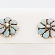 Vintage 14 Karat Yellow Gold Opal Doublet Seed Pearl Flower Earrings Fine Jewelry