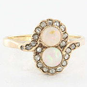 Antique Victorian 14 Karat Yellow Gold Diamond Opal Ring Fine Vintage Jewelry Estate