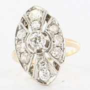 Art Deco 14 Karat Yellow White Gold Diamond Cocktail Ring Fine Estate Jewelry
