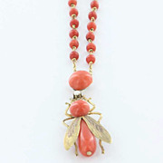 Vintage 14 Karat Yellow Gold Seed Pearl Coral Fly Insect Necklace Fine Bug Jewelry