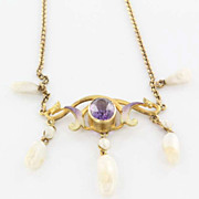 Art Nouveau 14 Karat yellow Gold Amethyst Fresh Water Pearl Enamel Necklace