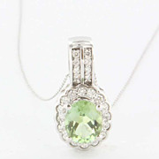 Estate 14 Karat White Gold Diamond Green Tourmaline Pendant Necklace Fine Jewelry